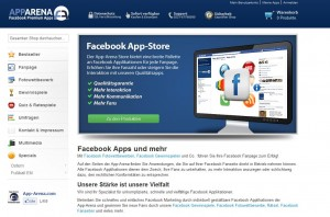 Facebook Apps bei App Arena