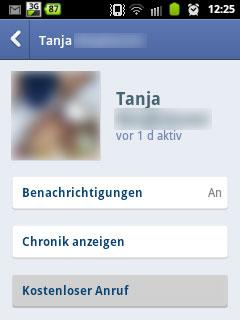Screenshot des Facebook Messengers mit grau hinterlegtem kostenlosen Anruf Button