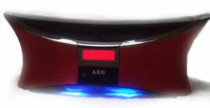 Das AEG BSS von Vorne. Deutlich zu sehen das blaue LED Ambient Light (Foto: Andreas Rabe)