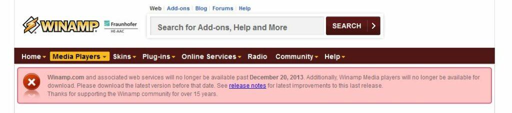 Winamp wird am 20.Dezember 2013 eingestellt