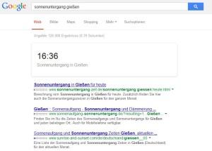 Sonnenuntergang + Stadnamen und google wirft die genau Uhrzeit aus