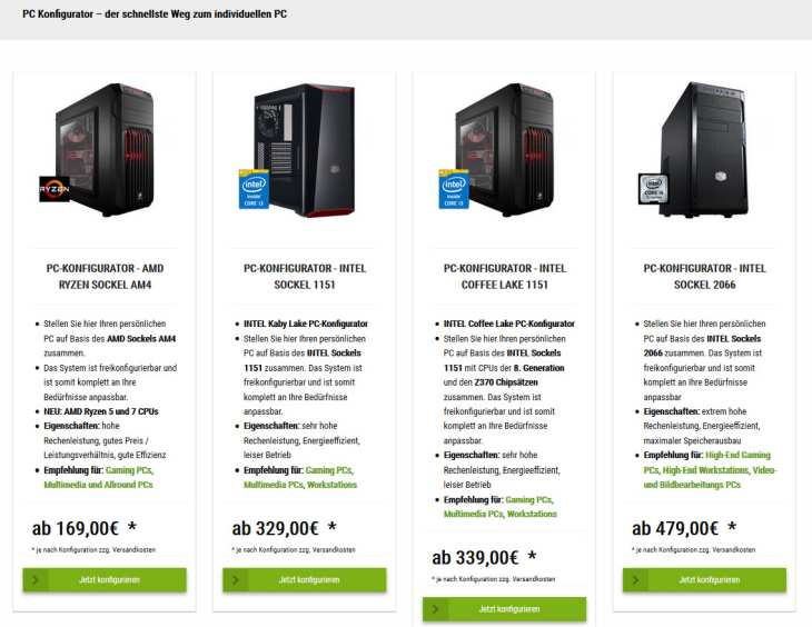 Bild 1: Der PC Konfigurator von Aletoware.com
