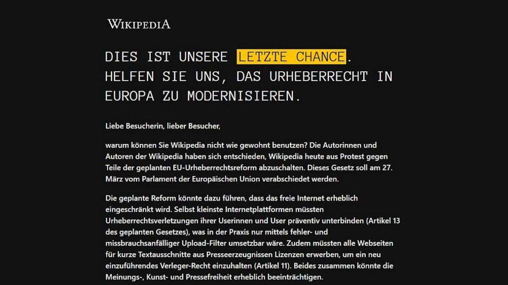 Wikipedia Protest gegen Artikel 11 und Artikel 13 der EU Urheberrechtsreform am 21.3.2019