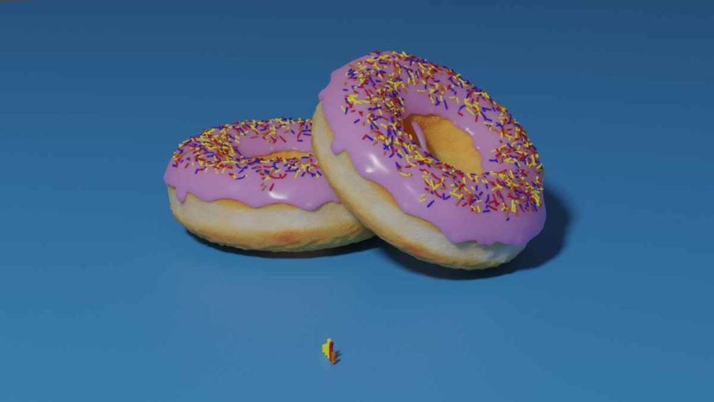 Donuts mit der 3D Grafiksoftware Blender erstellt.