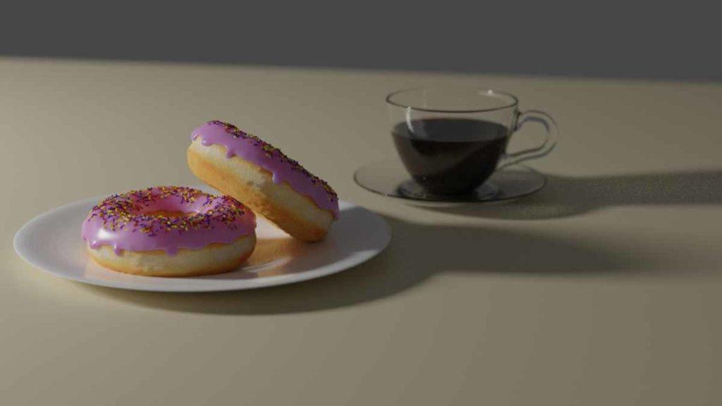 Donuts mit Kaffee. Erstellt mit Blender