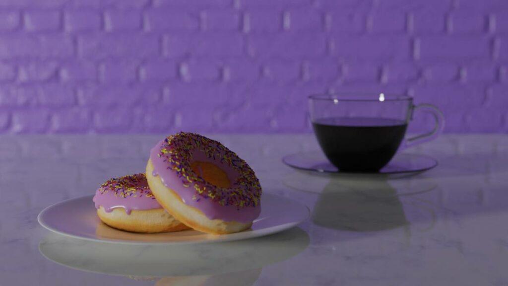 Donuts mit der 3D Grafiksoftware Blender erstellt. Bild Andreas Rabe / Addis Techblog