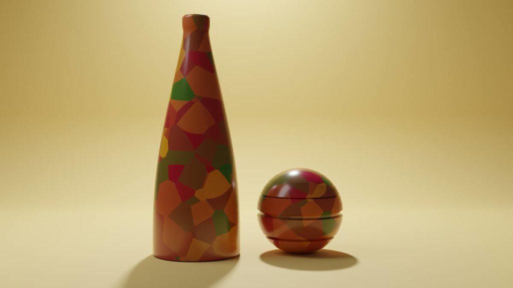 Blender Grafik - Flasche und Ball, Prozedurale Textur, Beleuchtung
